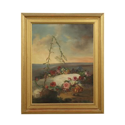Celebrative Painting With Flowers Oil On Canvas Early '900
