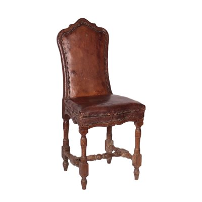 Baroque Chair Walnut Leather Italy 17th-18th Century