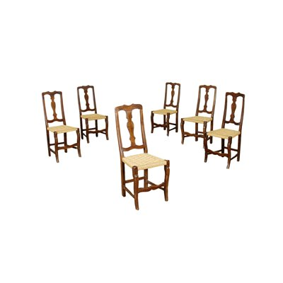 Group of 6 Modenese Chairs Walnut Italy 18th Century