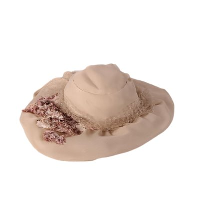 Vintage Hat with Pink Flowers Italy 1950s-1960s