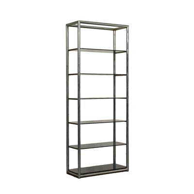 Bookcase Chromed Metal Smoked Glass Italy 1970s