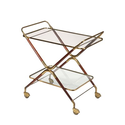 Service Trolley Wood Brass Glass Italy 1950s