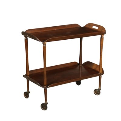 Service Trolley Walnut-Stained Veneer Italy 1950s