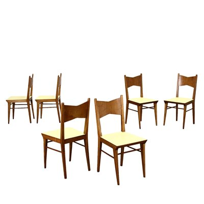 Group Of Six Chairs Sessile Oak Formica Italy 1940s 1950s