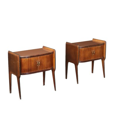 Pair Of Bedside Tables Veneered Wood Glass Italy 1950s 1960s