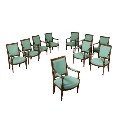 Group Of 10 Revival Armchairs Walnut Italy 20th Century