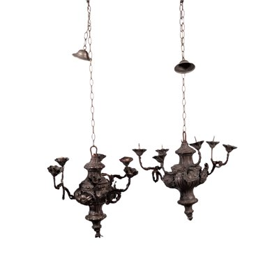 Pair of Chandeliers Shear Plate Italy 19th Century