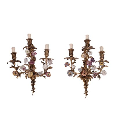 Pair of Revival Wall Lights Gilded Bronze Ceramic Italy 20th Century