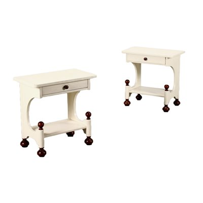 Pair Of Bedside Tables Lacquered Wood Italy 1970s