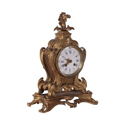 Table Clock Gilded Bronze France 19th Century
