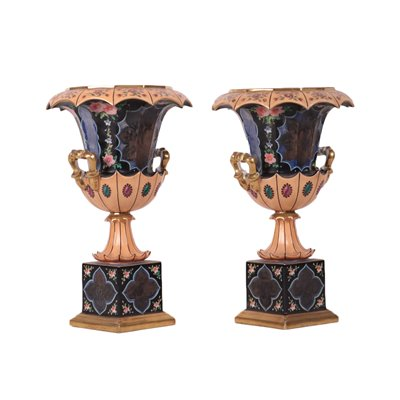 Pair Of Liberty Vases Porcelain Italy 19th-20th Century