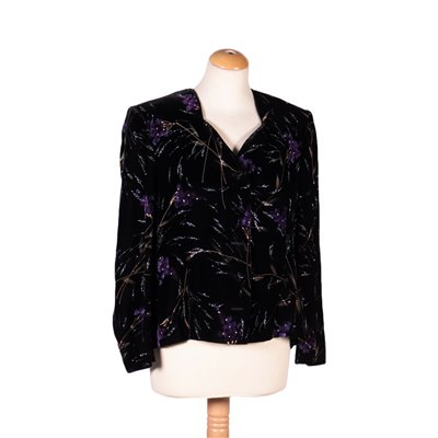 Vintage Velvet Jacket With Flowers Italy 1980s-1990s