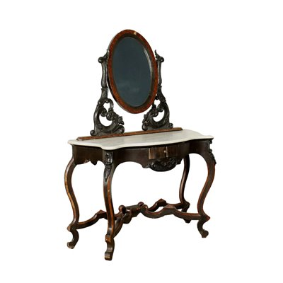 Umbertine Console With Mirror White Marble Italy 19th Century