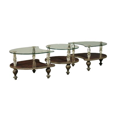 Set Of Three Small Tables Bronze Crystal Shear Plate Italy 1950s-1960s