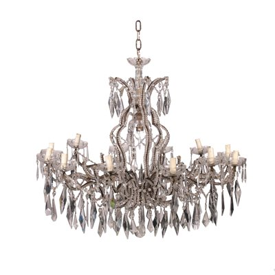 12 Arm Chandelier Iron and Glass Italy 19th-20th Century