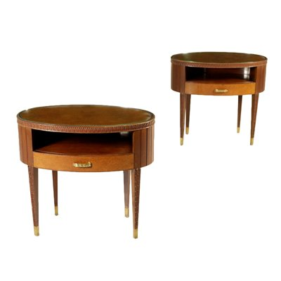 Pair of Nightstands Mahogany Brass Glass Vintage Italy 1950s