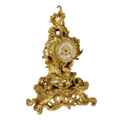 Mantel Clock Gilded Bronze Iron Made in France First Half of 1800 Antiques Clocks