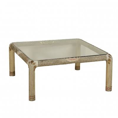 Coffee Table Lacquered Wood Glass Top Vintage Italy 1960s Vintage Modernism Side & Coffee Tables