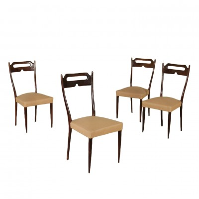 Four Chairs Stained Beech Leatherette Vintage Italy 1950s Vintage Modernism Chairs