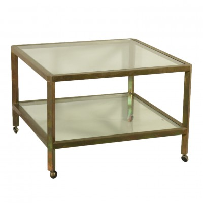 Coffee Table Brass Glass Vintage Manufactured in Italy 1960s Vintage Modernism Service Trolleys