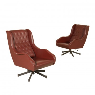 Pair of Swivel Armchairs Leatherette Metal Vintage Italy 1960s Vintage Modernism Armchairs