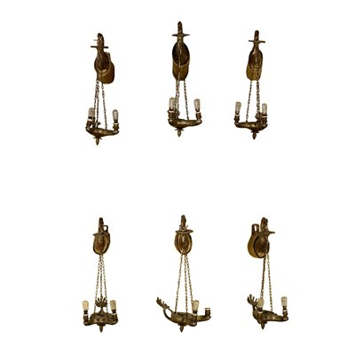 Elegant Group of Sconces Bronze Fabric Italy First Half 19th Century Antiques Wall Lamps