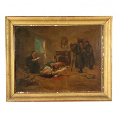 The Tragic Return Oil on Canvas Late 1800s Art 19th Century