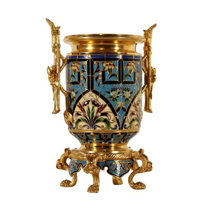 Gilded Bronze Flower Pot Enamel Decoration France Late 19th Century Antiques Vases