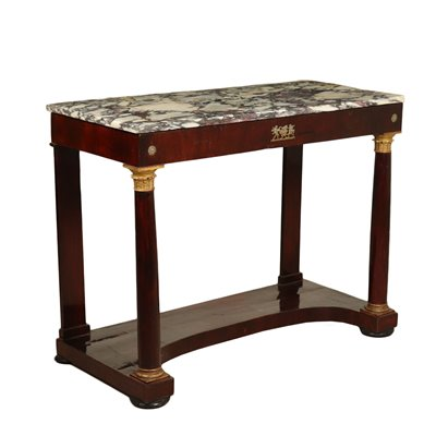 Empire Console Table Walnut Bronze Marble Top Italy Early 1800s Antiques Consoles