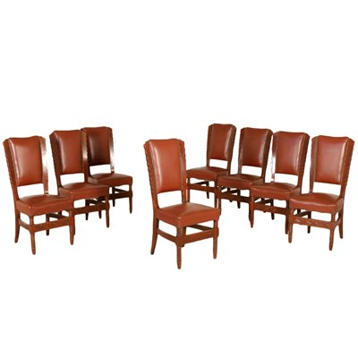 Set of Eight Chairs Stained Beech Leatherette Vintage Italy 1950s Vintage Modernism Chairs