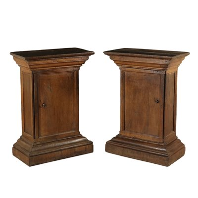 Pair of Walnut Vase Stands with Door Italy 18th Century Antiques Other Furniture