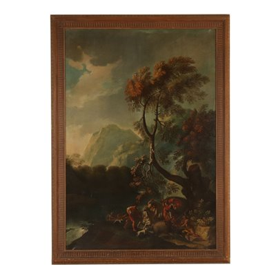 Large Landscape Wild Boar Hunting Oil on Canvas 18th Century Art Antique Painting