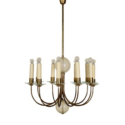 Ceiling Lamp Brass Glass Vintage Italy 1940s Vintage Modernism Ceiling Lamp