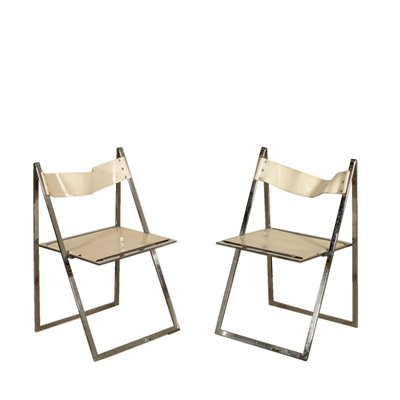 Pair of Folding Chairs for Elios Colle D'Elsa Vintage Italy 1970s Vintage Modernism Chairs