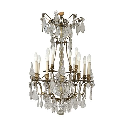 Chandelier 16 Arms Bronze Crystal Italy Early 1900s Antiques Ceiling Lamps